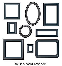 Picture Frames - Set of classic beveled black picture frames...