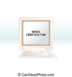 Under Construction message on obsolete retro monitor screen