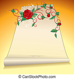 Manuscript - Old manuscript with Roses branch, vector...