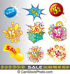 Sale Tags - Set of sale, promotional and discount Signs