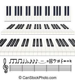 Piano Notes - Music Design Elements, vector Piano keys or...
