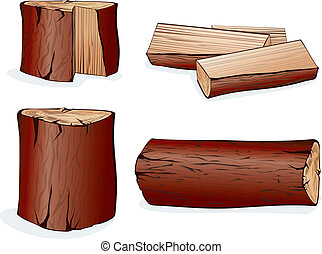 Vector Wooden objects collection