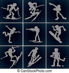 Sport LED Icons - LED vector icons, set of various Winter...