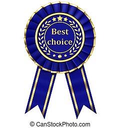 Blue Ribbon Award isolated on white background