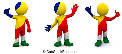 3d character textured with flag of Seychelles isolated on...