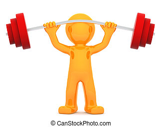 Sportsman with barbell Isolated on white background