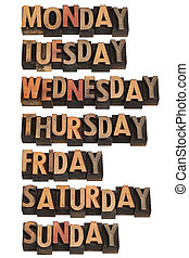 seven days of week - 7 days of week from Monday to Sunday in...