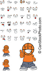 basketball kid cartoon set1