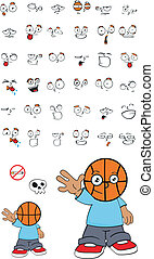 basketball kid cartoon set9