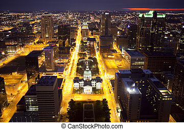 Downtown St Louis Skyline at Night - View of downtown St...