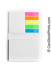 Notepad with colorful sticky notes - White notepad with...