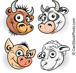 Funny Farm - Funny cartoon farm animals, vector mascot of...