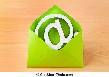 Envelope with e-mail characters - An envelope with an e-mail...