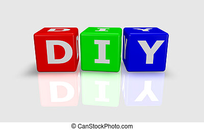 Cube word DIY- do it yourself -  in green, red and blue