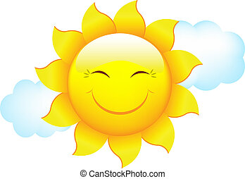 Cartoon Sun And Cloud, Isolated On White Background, Vector...