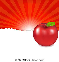 Red Apple And Sunburst, Vector Illustration