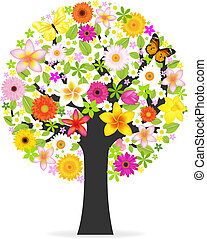 Abstract Flowers Tree, Isolated On White Background, Vector...