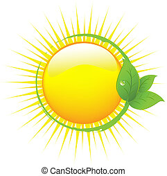 Sun With Leafs, Isolated On White Background, Vector...