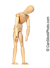 Jointed wooden mannequin representing discouragement
