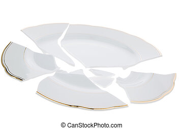 Broken dish - A broken dish is on a white background.
