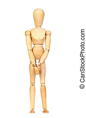 Jointed wooden mannequin waiting