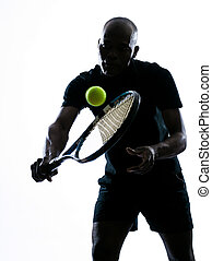 man tennis player backhand - man african afro american...