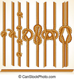 Vector Thread - Brown Rope borders, seamless vector elements...