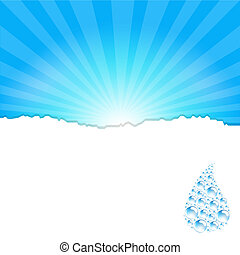 Sanburst Background With Water Drop