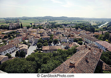 Italy, Monzambano - The view from the tower of the Castello...