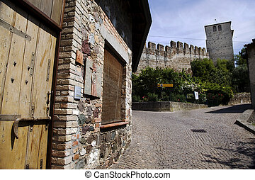 Italy, Monzambano, Castello - The view of the tower of the...