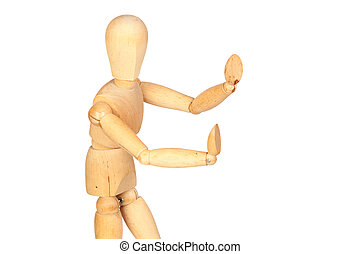 Jointed wooden mannequin pushing something