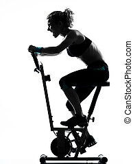 woman biking workout fitness posture - one woman biking...