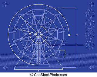Ferris wheel blueprint - Blueprint style rendering of a...