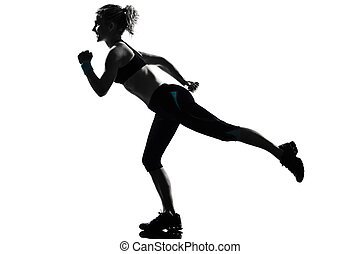 woman workout fitness posture running runner - one woman...