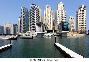 New highrise buildings at Dubai Marina, United Arab Emirates