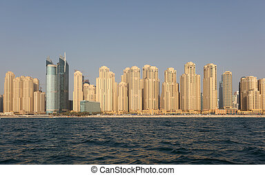 Jumeirah Beach Residence as seen from the sea. Dubai, United...
