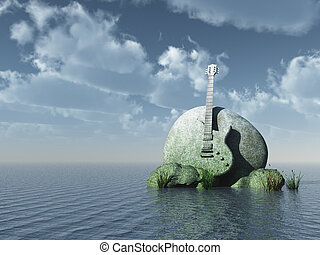 hard rock - guitar monument under blue sky - 3d illustration