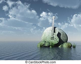 hard rock - guitar monument under blue sky - 3d illustration