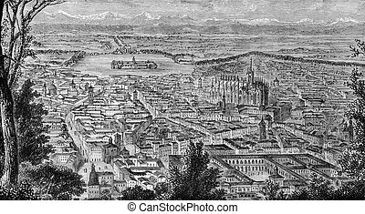 Milan - General view of Milan, Italy on engraving from...