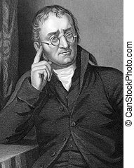 John Dalton (1766-1844) on engraving from 1800s. English...
