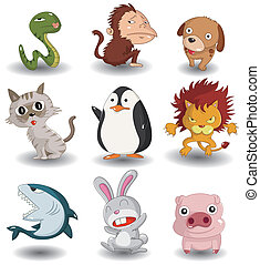 cartoon animal icon set