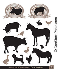 12 silhouettes of animals - two labels and 12 silhouettes of...