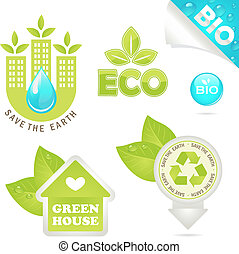 set eco and bio icons, vector illustration