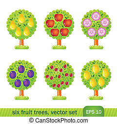 Six fruit trees