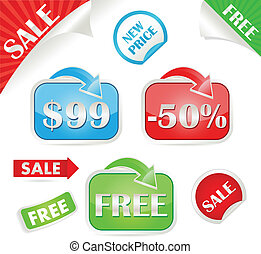 Set of sale and promo stickers