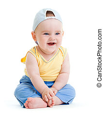 Little smiling boy isolated studio shot