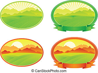 vector landscape with banner