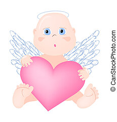 Angel-with-big-heart - Vector illustration of angel with big...