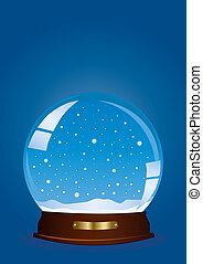 snow-globe - Vector illustration of a globe with falling...