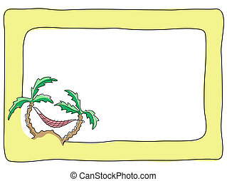 palm-trees-and-a-hammock - Vector illustration of frame with...